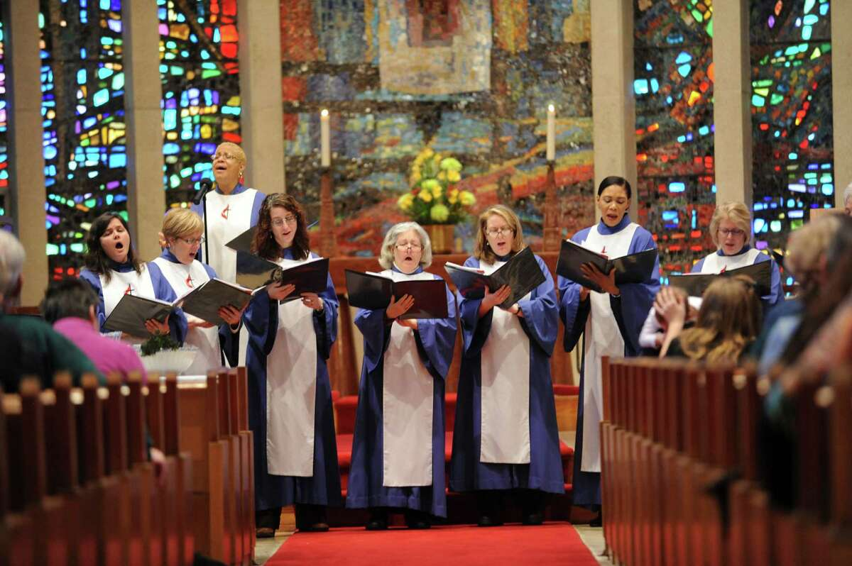 The women choir sing at the First United Methodist Church in Stamford, in Conn., Sunday, Jan. 13, 2013. The church is beginning celebrations of the church's 225th anniversary.
