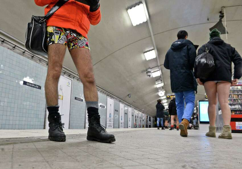 Participants take part in the annual 'No Pants Subway Ride' in Stockholm, Sunday. (AP Photo/Janerik