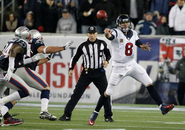 Houston Texans quarterback Matt Schaub (8) passes during the second half of an AFC divisional playoff NFL football game against the New England Patriots in Foxborough, Mass., Sunday, Jan. 13, 2013. (AP Photo/Stephan Savoia) Photo: Stephan Savoia, Associated Press / AP