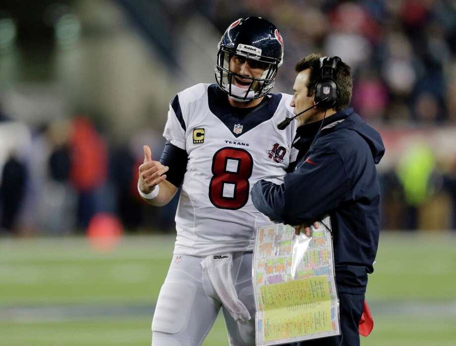Houston Texans quarterback Matt Schaub  talks with head coach Gary Kubiak during the second half of an AFC divisional playoff NFL football game against the New England Patriots in Foxborough, Mass., Sunday, Jan. 13, 2013. (AP Photo/Charles Krupa) Photo: Charles Krupa, Associated Press / AP