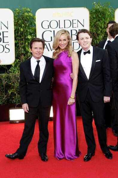 Michael J. Fox and family arrive for the 70th Annual Golden Globe Awards show at the Beverly Hilton