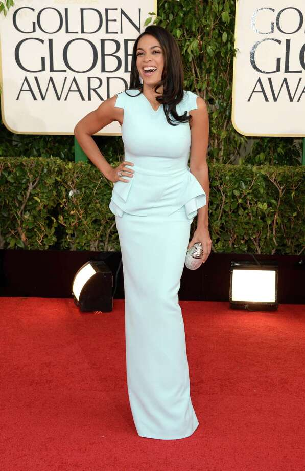 Worst: Rosario Dawson's gown is all soft color and hard edges, a jarring combination. The shoulders look like they're taped down. Photo: Jason Merritt, Getty Images / 2013 Getty Images