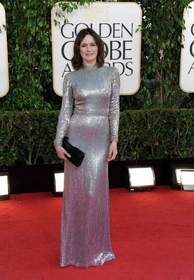 "Worst: Emily Mortimer of HBO's ""The Newsroom"" is a much better looking person than this. This metallic nightmare overwhelms her and makes her look dowdy. Photo: Jordan Strauss/Invision/AP"
