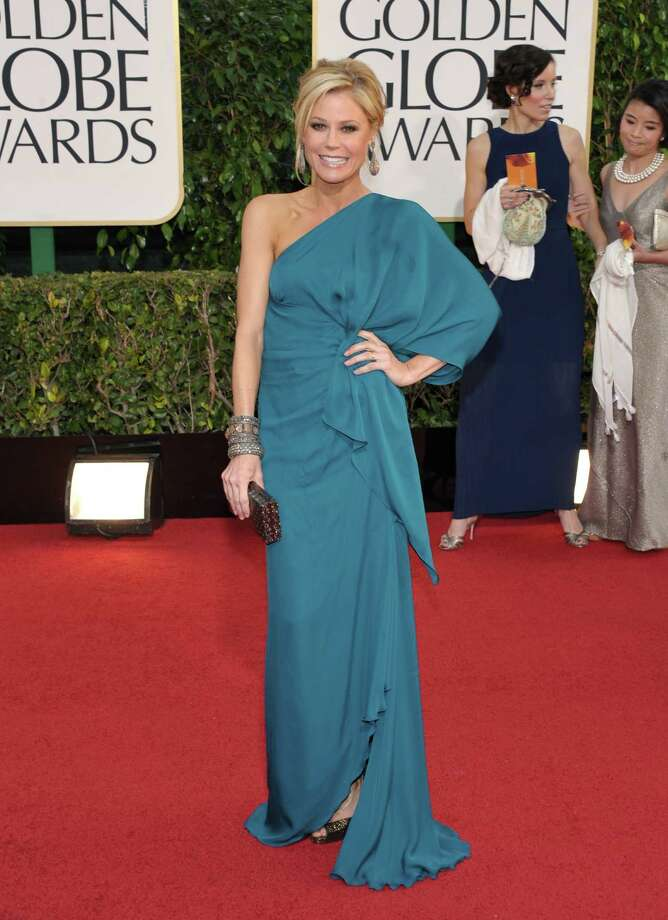 Worst:Julie Bowen doesn't look horrible in this gown, and at least it's an interesting color. But this is the wrong kind of asymmetry -- way too much draping. She looks OK on one side and terribly overdressed on the other. Photo: John Shearer/Invision/AP