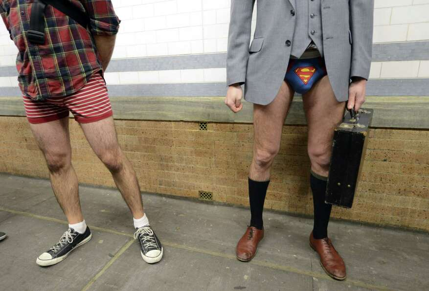 Riders in the New York City subway take part in the 2013 No Pants Subway Ride on Sunday (AFP PHOTO /