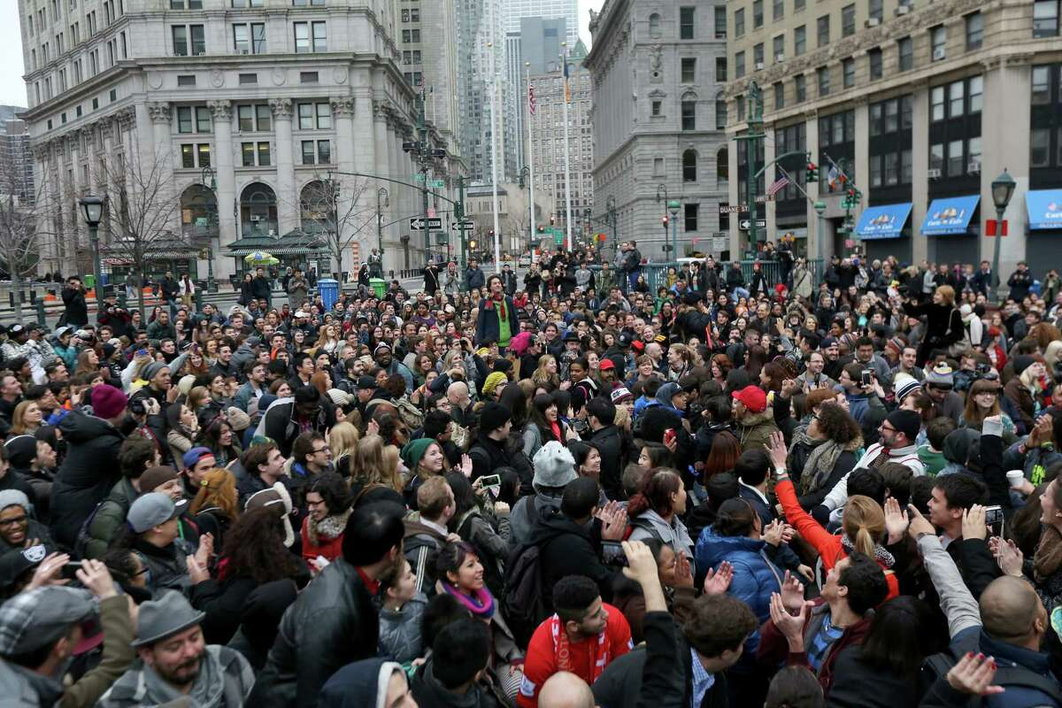 Thousands of people prepare to ride the subway and remove their pants Sunday in New York City. They were participating in the 12th annual No Pants Subway Ride, organized by New York City prank collective Improv Everywhere. The event, refered to as a