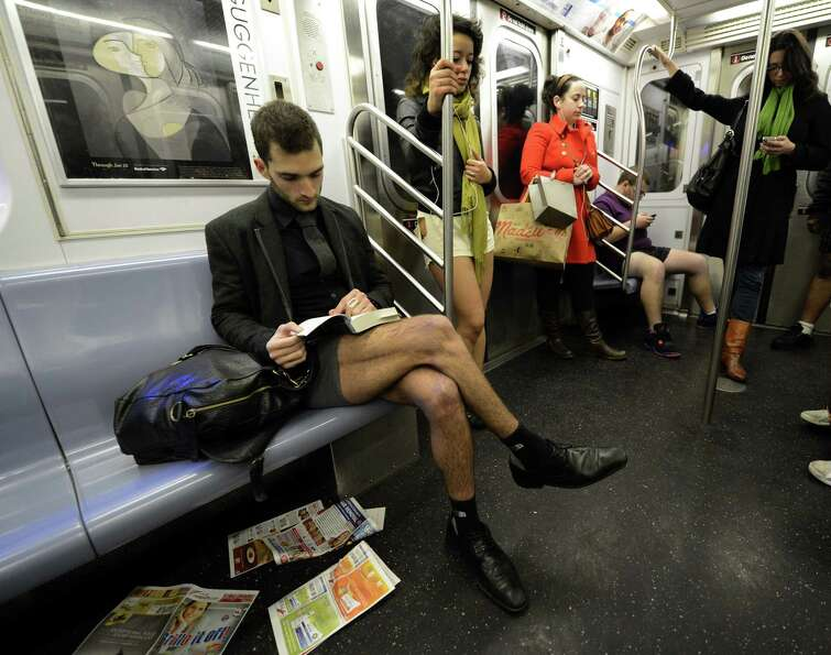 Riders in the New York City subway take part in the 2013 No Pants Subway Ride on Sunday. (AFP PHOTO