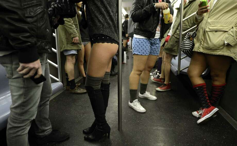 Some riders in the New York City subway in the underwear as the take part in the 2013 No Pants Subway Ride on Sunday. (AFP PHOTO / TIMOTHY A. CLARY) Photo: Getty