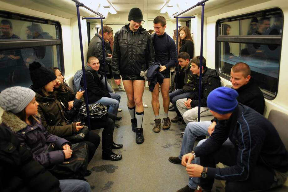 People walk in underwear in the Sofia City subway as they take part in the 2013 No Pants Subway Ride on Sunday. (AFP PHOTO / NIKOLAY DOYCHINOV) Photo: Getty