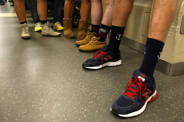 """No Pants"" participants ride the BART on January 13, 2013 in San Francisco, Calif. The event, which takes place in various subways around the world is hosted by the group Improv Everywhere. Photo: Sean Havey, The Chronicle"