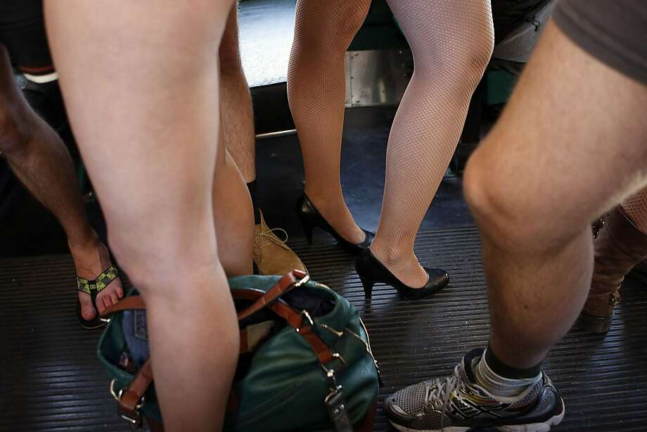 """No Pants"" participants ride the BART on January 13, 2013 in San Francisco, Calif. The event, which takes place in various subways around the world is hosted by the group Improv Everywhere, and asks participants to wear no pants but to don colorful underwear and socks. Photo: Sean Havey, The Chronicle"