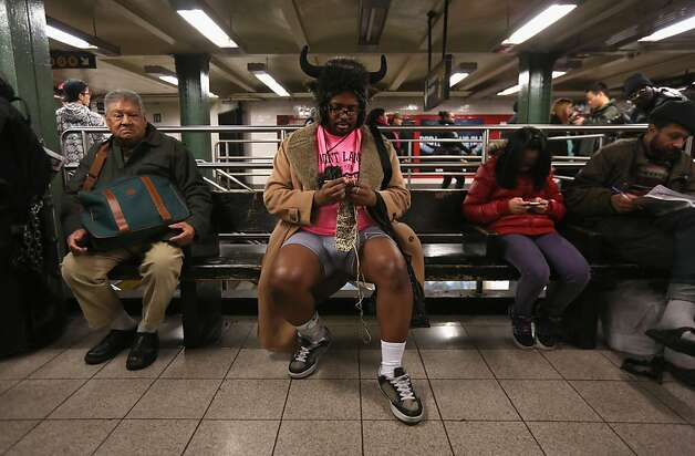 "NEW YORK, NY - JANUARY 13:  A pantless man knits at the Union Square subway station on January 13, 2013 in New York City. Thousands of people participated in the 12th annual No Pants Subway Ride, organized by New York City prank collective Improv Everywhere. During the afternoon winter event, participants boarded separate subway stops and removed their pants, pretending that they did not know each other. The event, refered to as a ""celebration of silliness"" is designed to make fellow subway riders laugh and smile.  (Photo by John Moore/Getty Images) Photo: John Moore, Getty Images"