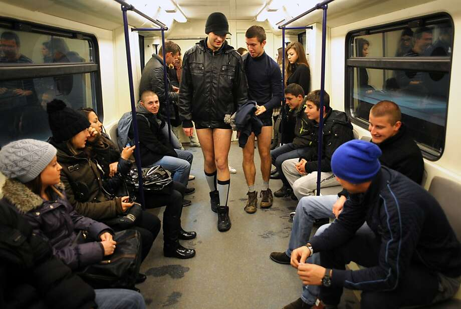People walk in underwear in the Sofia City subway as they take part in the 2013 No Pants Subway Ride on January 13, 2013. The  No Pants Subway Ride, in its 12th year, still surprises passengers on public transit and is spreading to many cities across the globe.  AFP PHOTO / NIKOLAY DOYCHINOVNIKOLAY DOYCHINOV/AFP/Getty Images Photo: Nikolay Doychinov, AFP/Getty Images