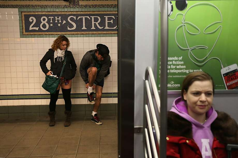 "NEW YORK, NY - JANUARY 13:  Pantless people stand on a subway platform on January 13, 2013 in New York City. Thousands of people participated in the 12th annual No Pants Subway Ride, organized by New York City prank collective Improv Everywhere. During the afternoon winter event, participants boarded separate subway stops and removed their pants, pretending that they did not know each other. The event, refered to as a ""celebration of silliness"" is designed to make fellow subway riders laugh and smile.  (Photo by John Moore/Getty Images) Photo: John Moore, Getty Images"