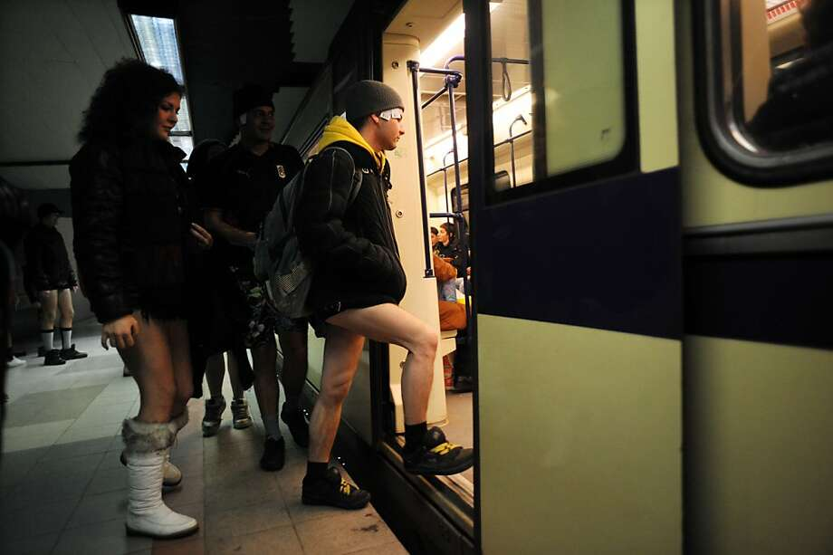 People in underwear take the Sofia City subway as they take part in the 2013 No Pants Subway Ride on January 13, 2013 in the Bulgarian capital. The  No Pants Subway Ride, in its 12th year, still surprises passengers on public transit and is spreading to many cities across the globe.  AFP PHOTO / NIKOLAY DOYCHINOVNIKOLAY DOYCHINOV/AFP/Getty Images Photo: Nikolay Doychinov, AFP/Getty Images