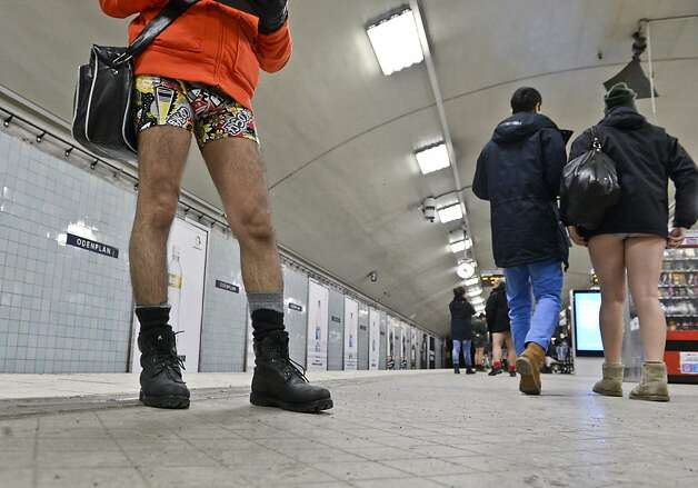 Participants take part in the annual 'No Pants Subway Ride' in Stockholm, on January 13, 2013. The yearly prank, organized by New York City-based prank collective Improv Everywhere was started in 2002, asking participants to ride subway lines pants-free and act straight-faced about it.  AFP PHOTO / JANERIK HENRIKSSON /SCANPIX SWEDEN/ SEDEN OUTJANERIK HENRIKSSON/AFP/Getty Images Photo: Janerik Henriksson, AFP/Getty Images