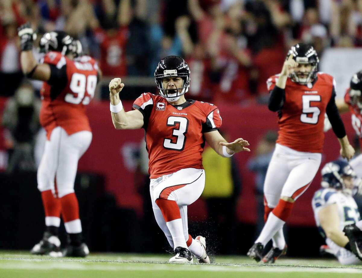 Atlanta Falcons kicker Matt Bryant (3) reacts to his game winning field goal against the Seattle Seahawks during the second half of an NFC divisional playoff NFL football game Sunday, Jan. 13, 2013, in Atlanta. The Falcons won 30-28.