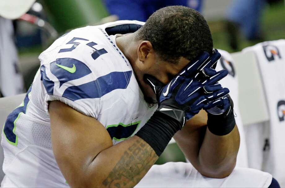 Seattle Seahawks middle linebacker Bobby Wagner (54) sits on the bench during the second half of an NFC divisional playoff NFL football game against the Atlanta Falcons Sunday, Jan. 13, 2013, in Atlanta. The Falcons won 30-28. Photo: AP