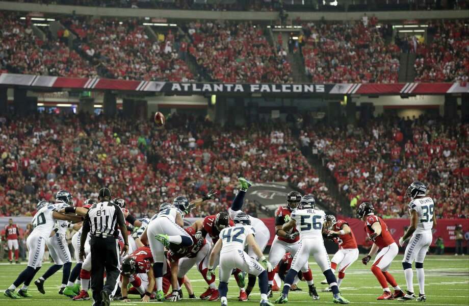 The Atlanta Falcons kick a field goal during the first half of an NFC divisional playoff NFL football game against the Seattle Seahawks Sunday, Jan. 13, 2013, in Atlanta. Photo: AP