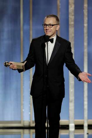"This image released by NBC shows Christoph Waltz, winner of the best supporting actor in a film for his role in ""Django,"" on stage during the 70th Annual Golden Globe Awards held at the Beverly Hilton Hotel on Sunday, Jan. 13, 2013, in Beverly Hills, Calif. (AP Photo/NBC, Paul Drinkwater) Photo: Paul Drinkwater, Associated Press / NBC"
