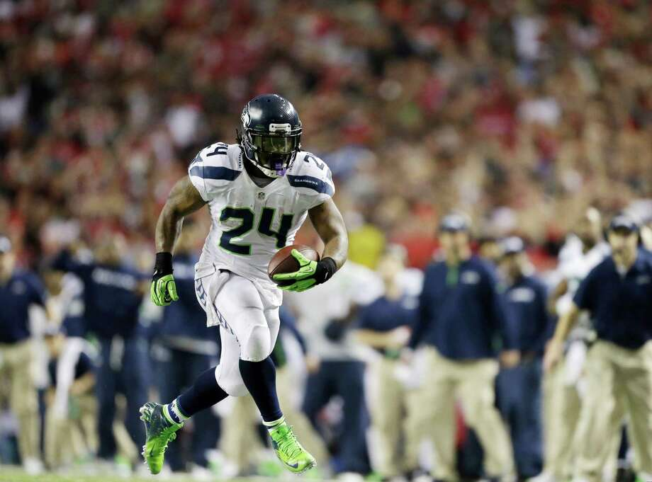 Seattle Seahawks' Marshawn Lynch runs during the second half of an NFC divisional playoff NFL football game against the Atlanta Falcons Sunday, Jan. 13, 2013, in Atlanta. Photo: AP