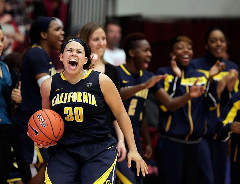 Mikayla Lyles reacts as the buzzer sounds and the Cal women defeated the Stanford women on Sunday at