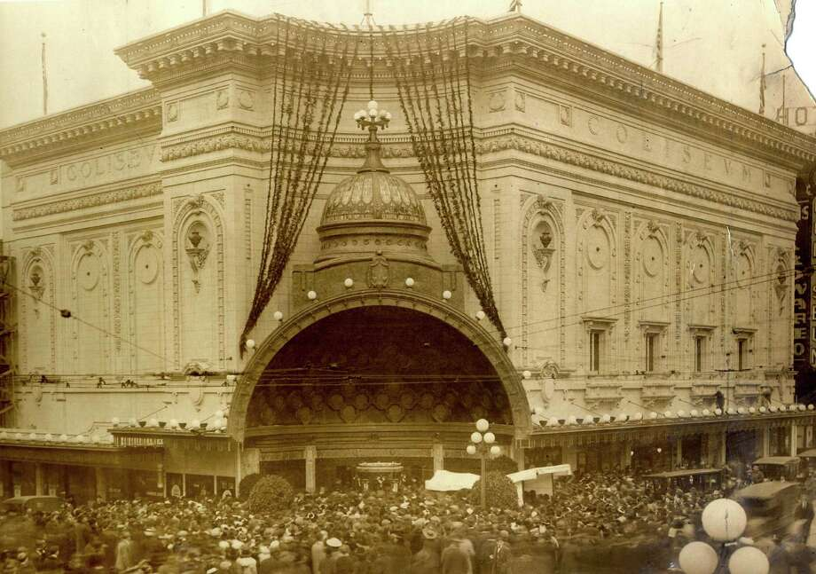 Designed by renowned theater architect B. Marcus Priteca, the Coliseum Theater opened in 1916 at Fifth Avenue and Pike Street. The Coliseum combined a stage for vaudeville acts and a large screen for photoplays which were accompanied by an eight-piece orchestra and a grand organ. Photo: P-I ARCHIVE 1915