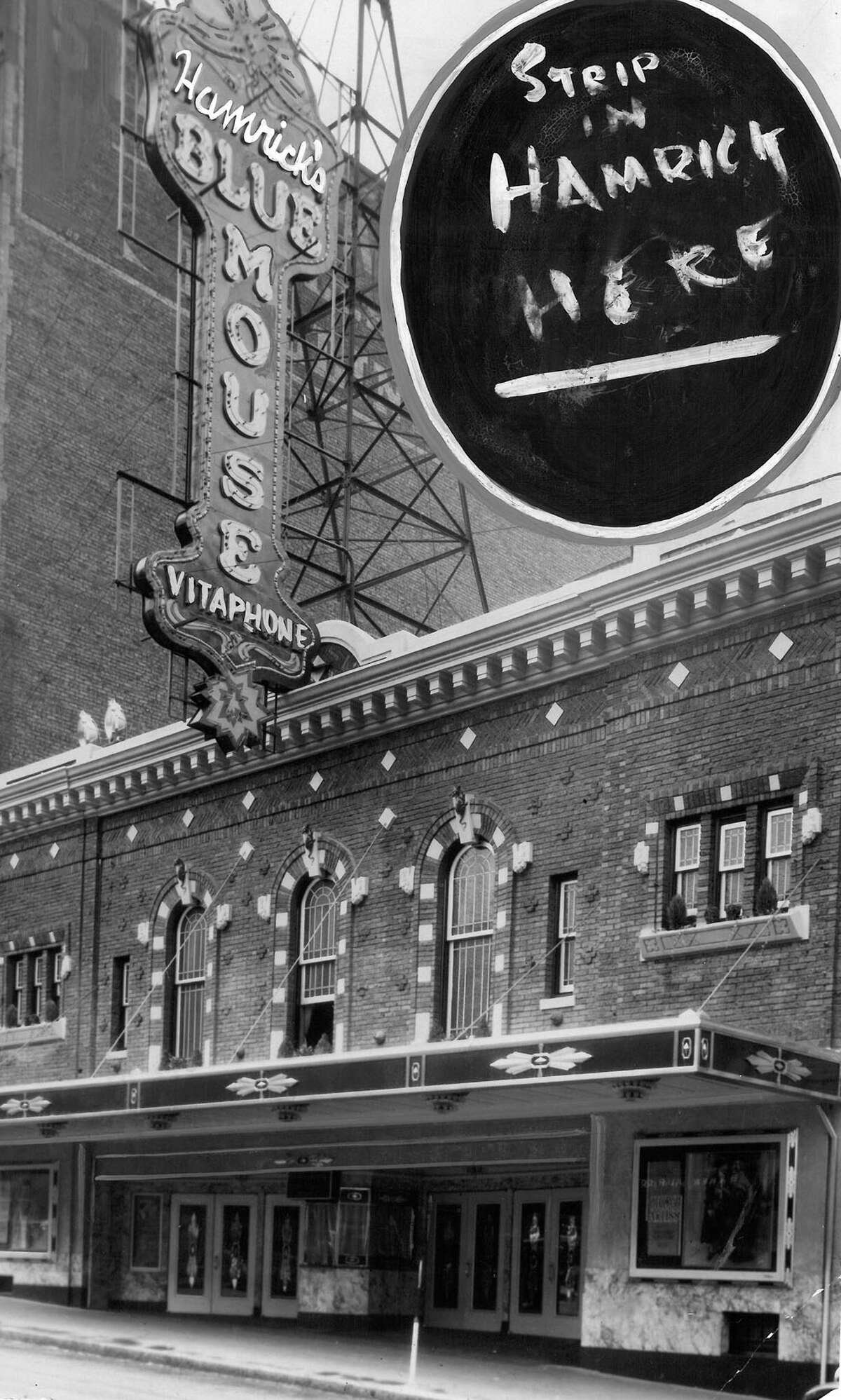 The Blue Mouse Theatre at 1421 5th Ave. was the first place in Seattle to show a regular talking movie. This P-I archive photo isn't dated.