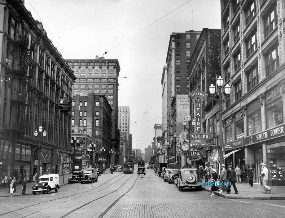 The Florence Theatre is seen on the right of this photo taken in 1935 looking north at Second Avenue and Yesler Way. Photo: Seattlepi.com File