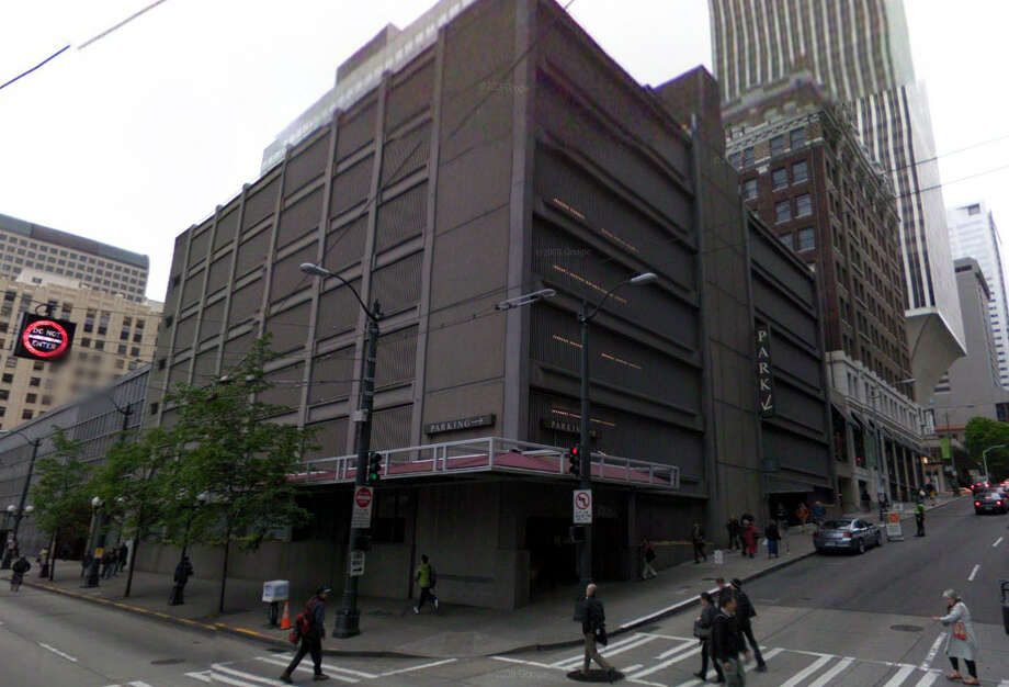A parking garage was built in 1966 at Third Avenue and University Street where the Palomar movie house had been. Photo: Google Street View