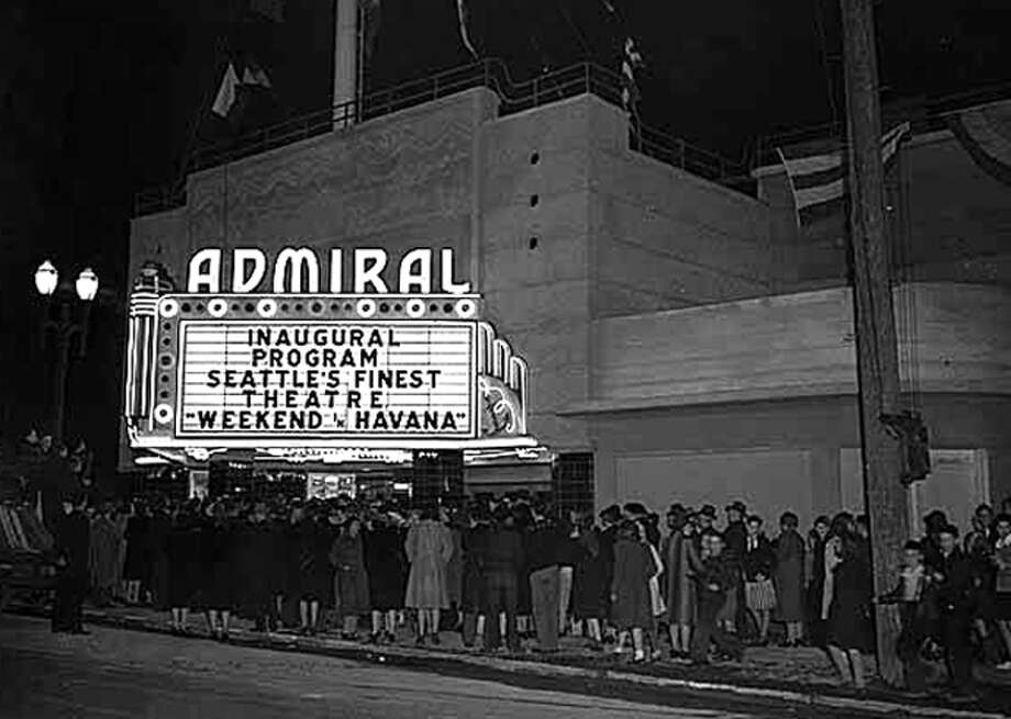 Opening night at the Admiral Theater in West Seattle, Jan. 22, 1942. The theatre had first been the Portola in the 1920 and is said to have offered the city's first free parking lot at a commercial business. (Seattlepi.com/MOHAI) Photo: Seattlepi.com/MOHAI