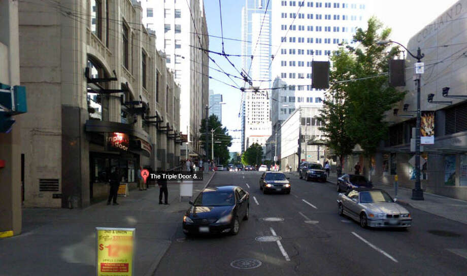 The former Embassy Theatre is now the Triple Door at 216 Union St. in Seattle. Photo: Google Street View