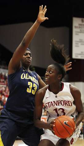 Chiney Ogwumike is defended by Talia Caldwell, left, in the second half. Stanford women played Cal at Maples Pavilion in Stanford, Calif., on Sunday, January 13, 2013, with Cal defeating the Cardinal 67-54 Photo: Carlos Avila Gonzalez, The Chronicle