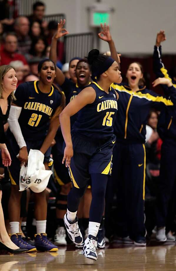 Brittany Boyd is cheered by the Cal bench after she hit a three pointer in the second half. Stanford women played Cal at Maples Pavilion in Stanford, Calif., on Sunday, January 13, 2013, with Cal defeating the Cardinal 67-54 Photo: Carlos Avila Gonzalez, The Chronicle