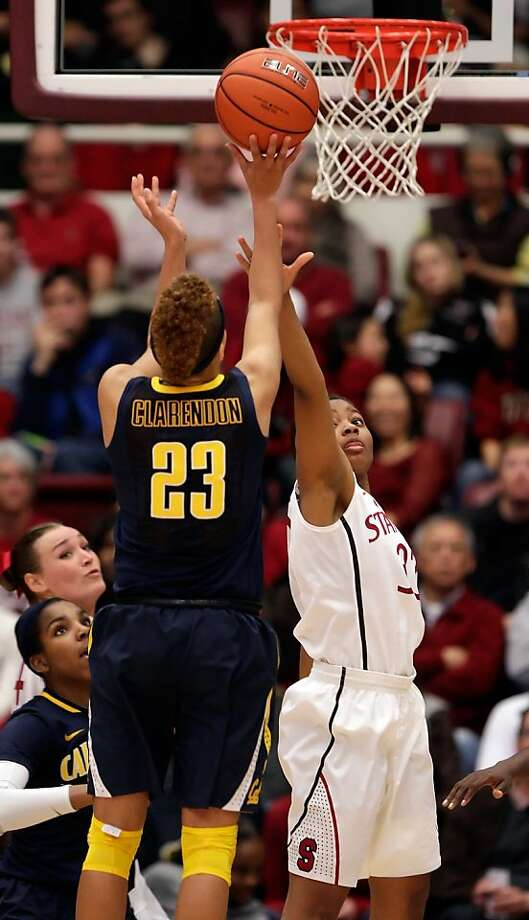 Cal's Layshia Clarendon puts up a shot over Stanford's Amber Orrange in the second half. Stanford women played Cal at Maples Pavilion in Stanford, Calif., on Sunday, January 13, 2013, with Cal defeating the Cardinal 67-54 Photo: Carlos Avila Gonzalez, The Chronicle