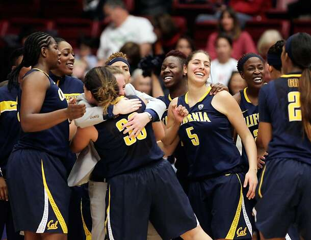 The Cal women celebrate after defeating the Stanford women on Sunday at Maples Pavilion. Stanford women played Cal at Maples Pavilion in Stanford, Calif., on Sunday, January 13, 2013, with Cal defeating the Cardinal 67-54 Photo: Carlos Avila Gonzalez, The Chronicle