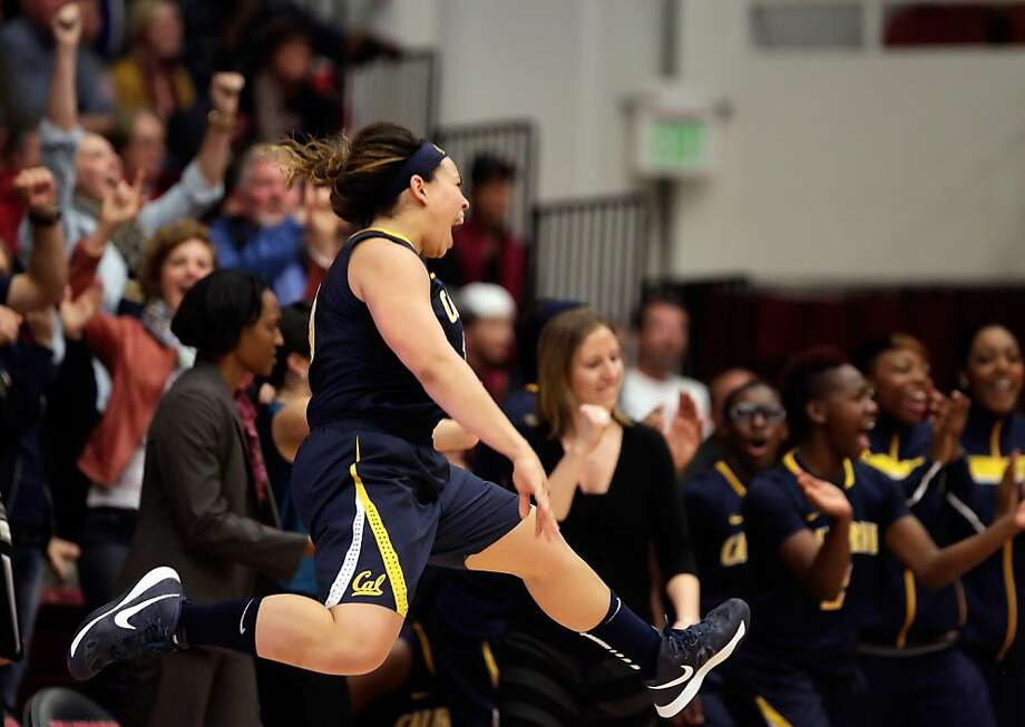 Mikayla Lyles leaps up as the buzzer sounds and the Cal women defeated the Stanford women on Sunday at Maples Pavilion. Stanford women played Cal at Maples Pavilion in Stanford, Calif., on Sunday, January 13, 2013, with Cal defeating the Cardinal 67-54 Photo: Carlos Avila Gonzalez, The Chronicle