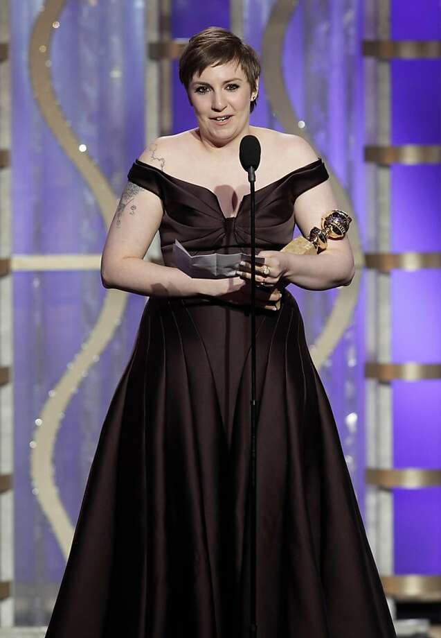 "This image released by NBC shows Lena Dunham with her award for best actress in a TV comedy series for ""Girls,"" during the 70th Annual Golden Globe Awards at the Beverly Hilton Hotel on Jan. 13, 2013, in Beverly Hills, Calif. (AP Photo/NBC, Paul Drinkwater) Photo: Paul Drinkwater, Associated Press"