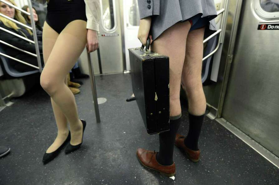 Some riders in the New York City subway in the underwear as the take part in the 2013 No Pants Subwa