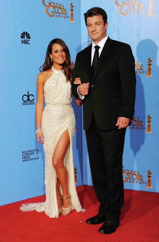 Presenters Lea Michele (L) and Nathan Fillion pose in the press room during the 70th Annual Golden Globe Awards held at The Beverly Hilton Hotel on January 13, 2013 in Beverly Hills, California. Photo: Kevin Winter, Getty / 2013 Getty Images