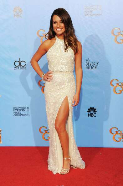 Presenter Lea Michele poses in the press room during the 70th Annual Golden Globe Awards held at The