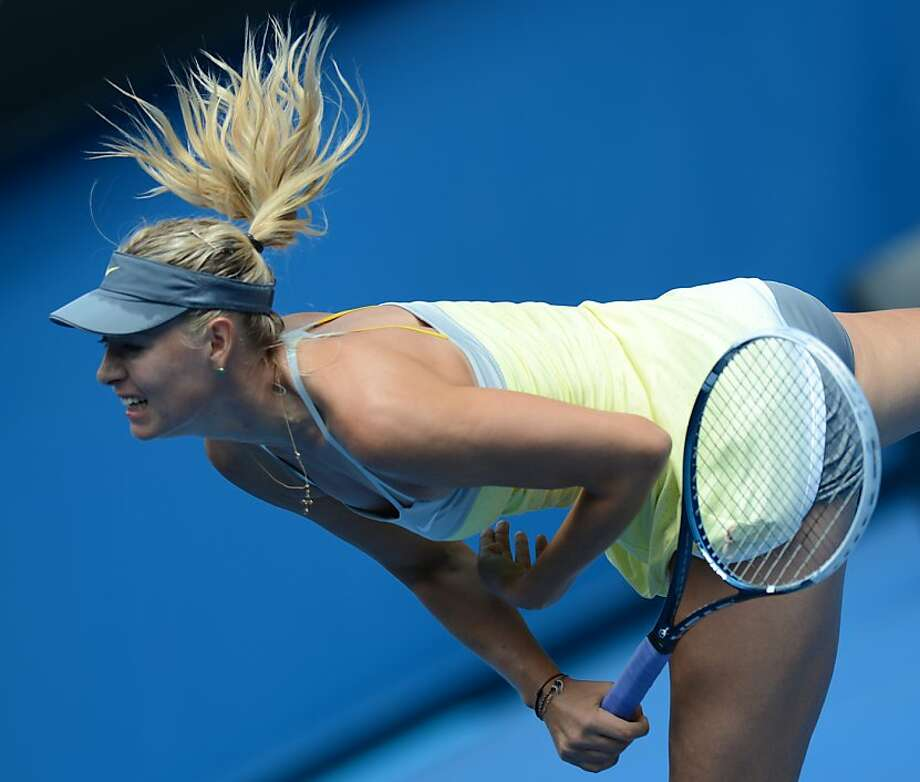 Maria Sharapova, playing her first match of the season after returning from a shoulder problem, earned a 6-0, 6-0 victory. Photo: Greg Wood, AFP/Getty Images