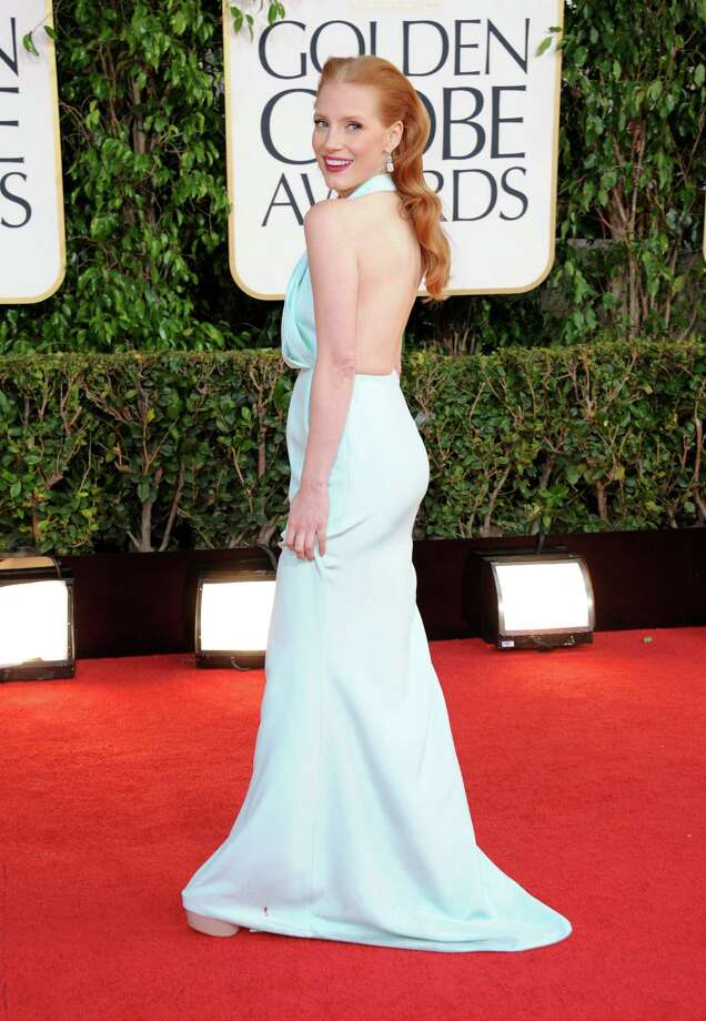 A simple, feminine light blue halter gown worn by Jessica Chastain made a winning turn on the red carpet. The ?Zero Dark Thirty? star chose wisely from Calvin Klein. Photo: Jordan Strauss, INVL / Invision