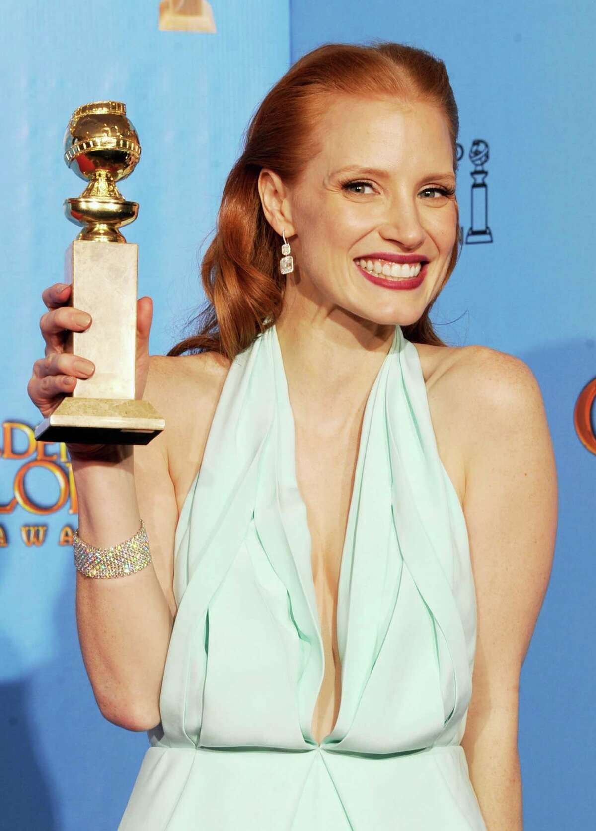 Actress Jessica Chastain, winner of Best Actress in a Motion Picture (Drama) for