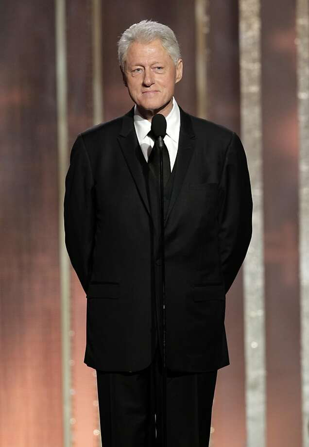 "This image released by NBC shows former President Bill Clinton introducing best picture nominee ""Lincoln"" during the 70th Annual Golden Globe Awards at the Beverly Hilton Hotel on Jan. 13, 2013, in Beverly Hills, Calif. (AP Photo/NBC, Paul Drinkwater) Photo: Paul Drinkwater, Associated Press"