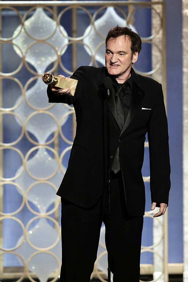"This image released by NBC shows Quentin Tarantino with his award for best screenplay for his film, ""Django Unchained,"" during the 70th Annual Golden Globe Awards at the Beverly Hilton Hotel on Jan. 13, 2013, in Beverly Hills, Calif. (AP Photo/NBC, Paul Drinkwater) Photo: Paul Drinkwater, Associated Press"