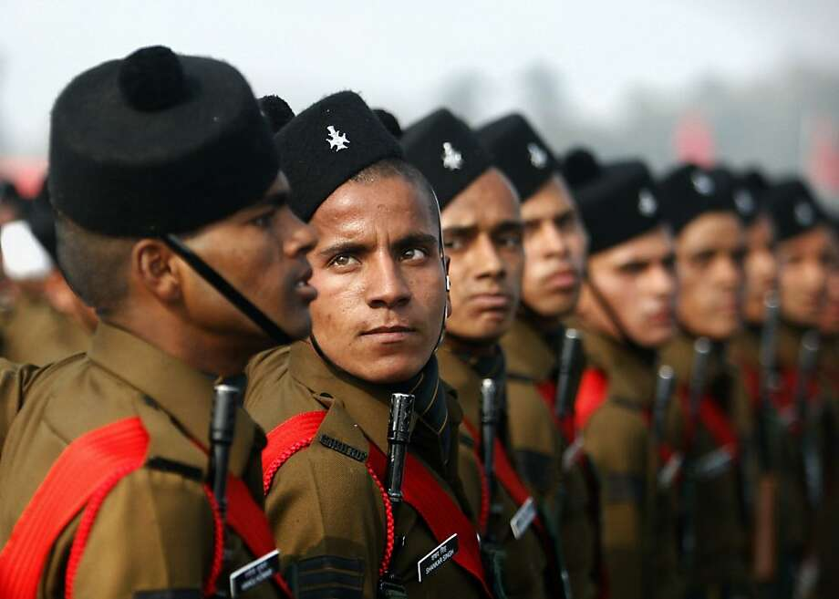 Indian Army soldiers march during during army day parade, in New Delhi, India, Sunday, Jan. 13, 2013. India marks Republic Day on Jan. 26 with military parades and festivities across the country. Photo: Tsering Topgyal, Associated Press