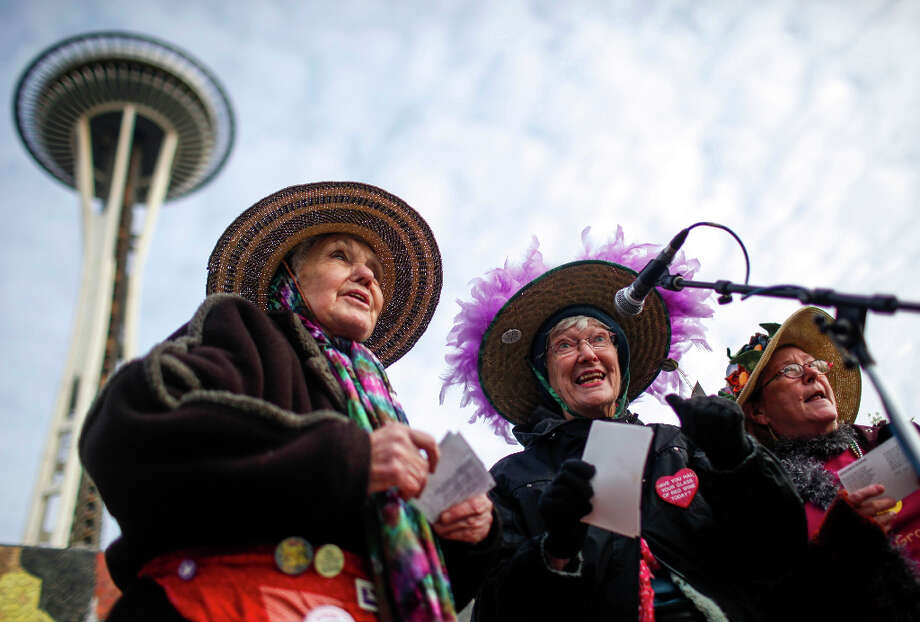 Raging Grannies sing for gun control at the StandUp Washington March and Rally for Gun Control on Sunday, January 13, 2013 in Seattle. Marchers called for sensible gun control laws in the wake of the tragic shooting at Sandy Hook Elementary School in Connecticut. Photo: NICK ADAMS, FOR SEATTLEPI.COM / SEATTLEPI.COM