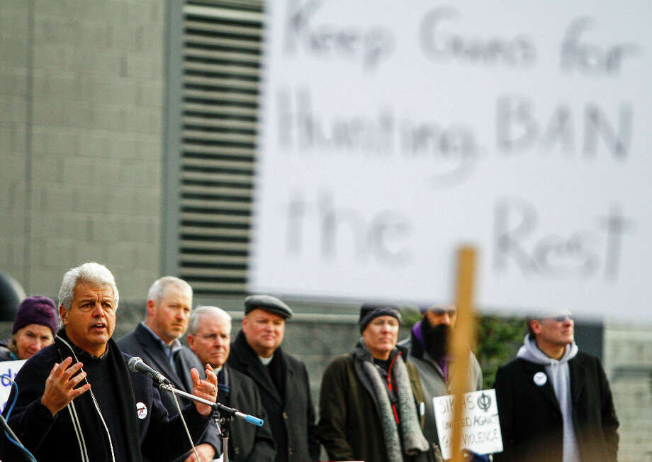 Washington CeaseFire board president Ralph Fascitelli speaks during the StandUp Washington March and Rally for Gun Control on Sunday, January 13, 2013 in Seattle. Marchers called for sensible gun control laws in the wake of the tragic shooting at Sandy Hook Elementary School in Connecticut. Photo: NICK ADAMS, FOR SEATTLEPI.COM / SEATTLEPI.COM