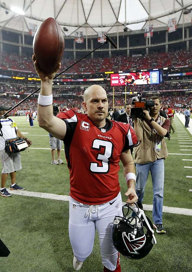 Atlanta Falcons kicker Matt Bryant (3) walks off the field after kicking the game-winning field goal during the second half of an NFC divisional playoff NFL football game against the Seattle Seahawks Sunday, Jan. 13, 2013, in Atlanta. The Falcons won 30-28. (AP Photo/John Bazemore) Photo: John Bazemore, Associated Press